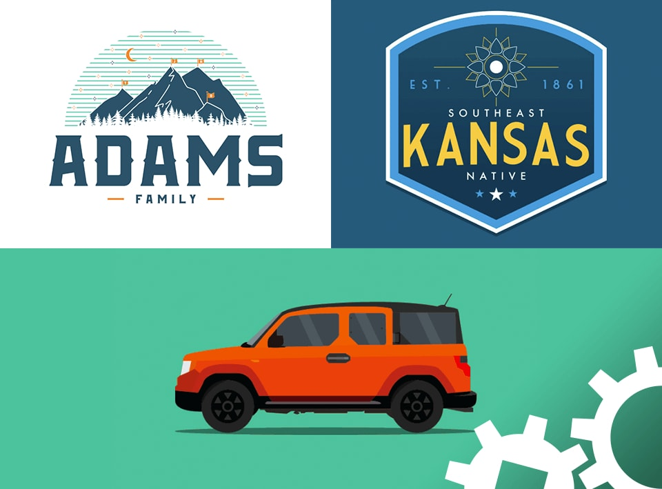 Jimi Adams designs of a family poster, Kansas native sticker, and a Honda Element.