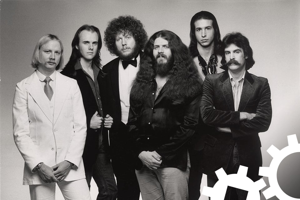 Black-and-white photo of the band Kansas.
