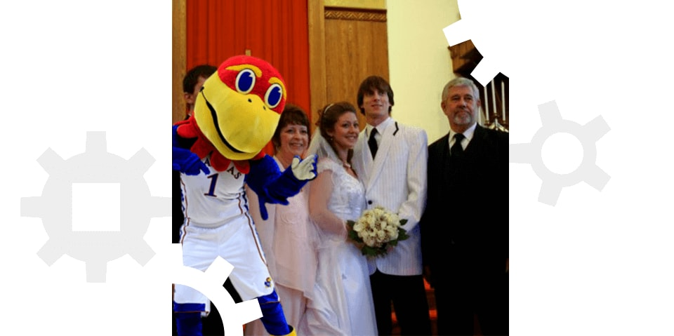 A Kansas Jayhawk at Penney Moore's wedding.