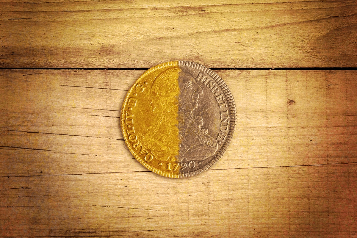 A coin painted gold on the left side.