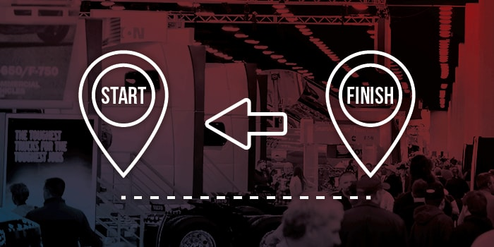Graphic highlighting the importance of starting over finishing at the Mid-America Truck Show.