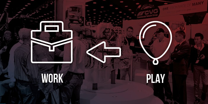Graphic highlighting the importance of work over play at the Mid-America Truck Show.