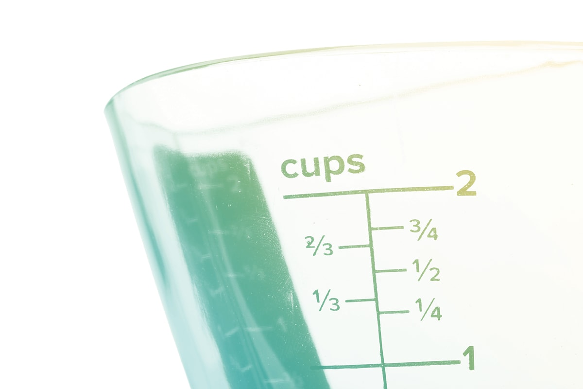 A measuring cup with cup units.