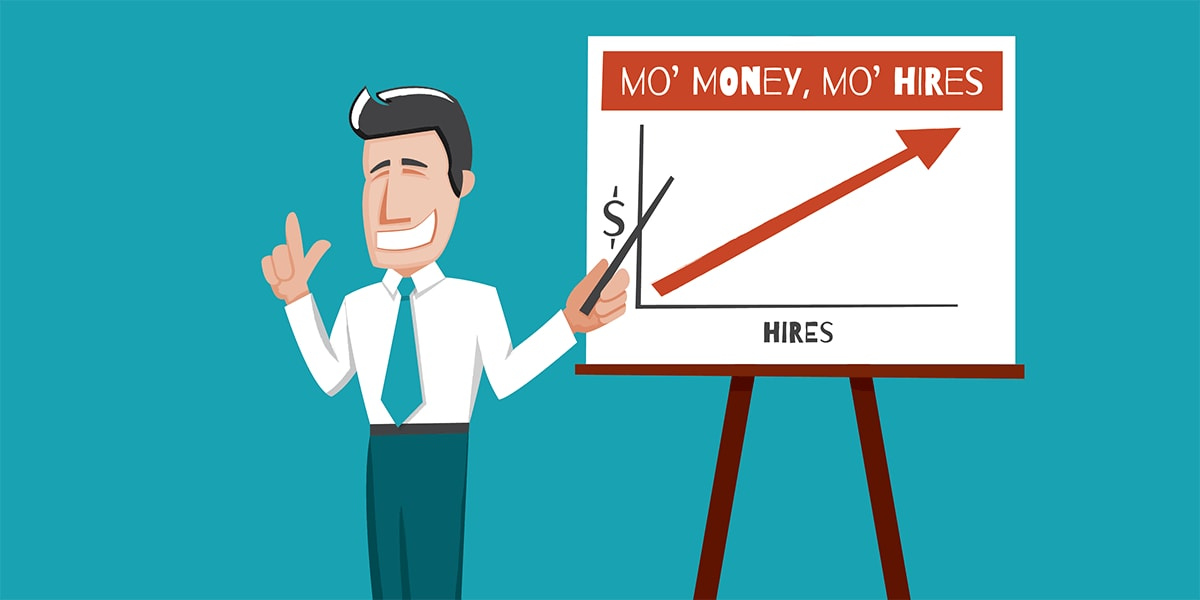 Smiling businessman by a chart claiming more money equals more hires.